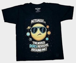 Gildan Boy's Actually The World Does Revolve Around Me Size Small 6-7 Black - $9.89
