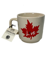 "Ellen Degeneres Royal Doulton Coffee Ceramic Mug 16oz Maple Leaf Canada ""LOVE"" - $14.69"