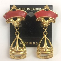 Vintage Enamel Gold Tone Dangle Crown Clip On Earrings NOS 90s Red State... - $21.00