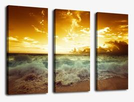 Sunset Sea Beach Canvas Prints Wall Art Decor Modern Sunshine Sea Wave Framed - $89.90+