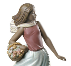 Nao By Lladro 02012024 Basket With Flowers Porcelain Figurine Glased New - $287.10