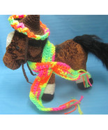 Dog Cat Mexican Sombrero Hat & Rebozo Scarf Brown Handmade Crochet by Bren - $10.00