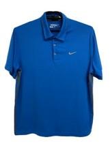 Nike Golf Dri-Fit men's polo shirt short sleeve blue half button front s... - $19.58