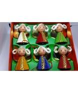 6 Vintage West Germany Angels Christmas Ornaments in Box  Wood  Velvet  ... - $61.70