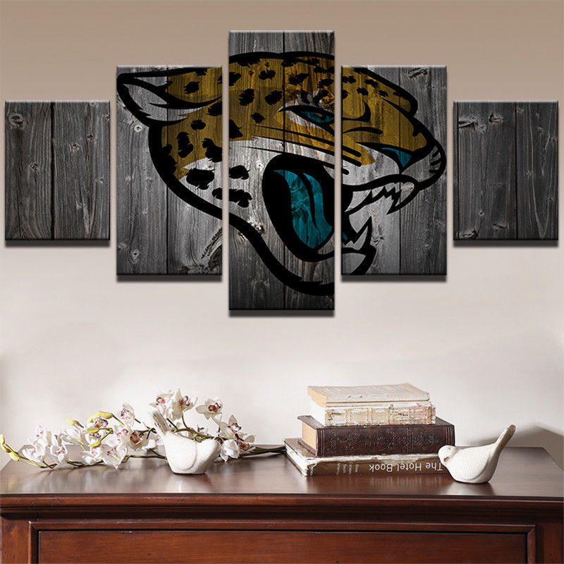 5 panels jacksonville jaguars canvas prints painting wall for International decor outlet jacksonville