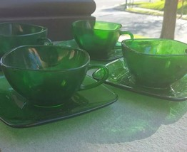 Four 4 Forest Green Charm Cup and Saucer Sets Anchor Hocking Glass Company - $19.99