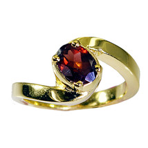 cute Garnet Gold Plated Red Ring Natural usual US gift - $17.99