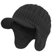 Janey&Rubbins Daily Knit Visor Brim Beanie Hat with Earflaps Fleece Line... - $16.91