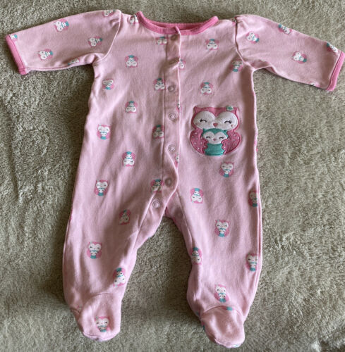 Child Of Mine Girls Pink Teal Owls Long Sleeve Pajamas Ruffle Bottom 0-3 Months - $5.00