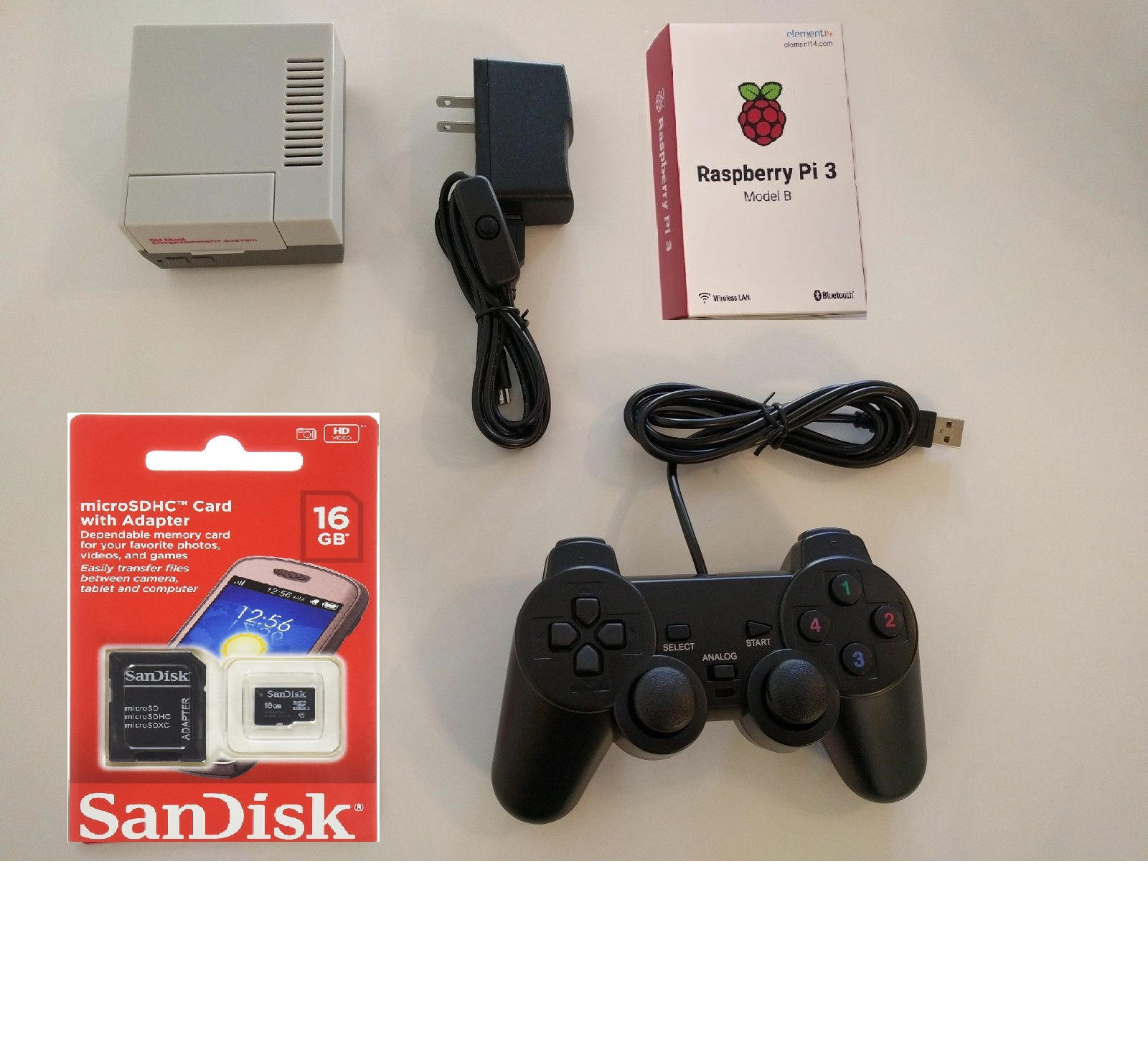 Raspberry Pi 3 Mini NES Classic Tribute Retro Gaming console 16GB w/ Controller
