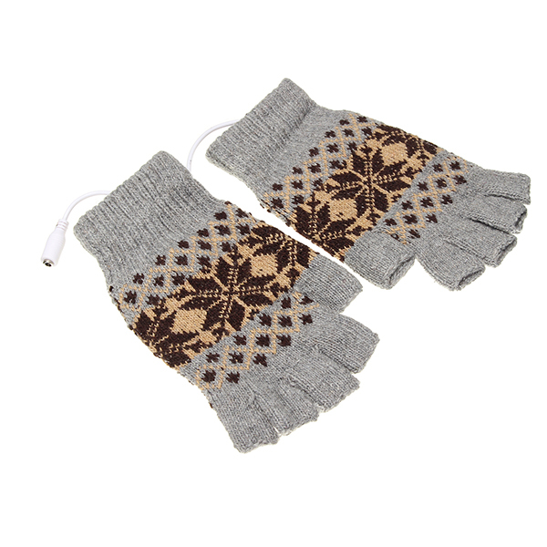 5V 1.5m USB Warmer Gloves Removable Heated Half Finger Gloves
