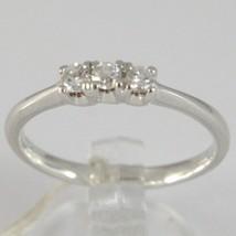 White Gold Ring 750 18K, Trilogy 3 Diamonds Carat Total 0.16, Shank Rounded image 1