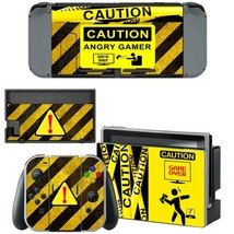 Nintendo Switch Console Dock Vinyl Skin Sticker Decal Set Caution Sign Game Over - $9.11