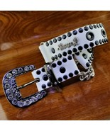 KIPPY'S Dog Collar Swarovski Studded Leather Dog Collar White & Black  - $34.95