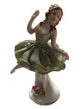 Vintage Porcelain Lace Ballerina Figurine Braided - $29.65