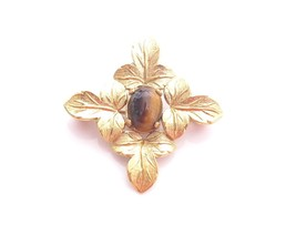 VINTAGE WELLS GOLD FILLED 14K GF SMALL FLORAL LEAF TIGER'S EYE PIN BROOC... - $34.60