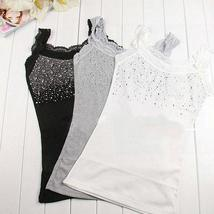 Fashion Women Rhinestone Sleeveless Lace Tops Stunning Vest Tank Tops T-shirt Bl