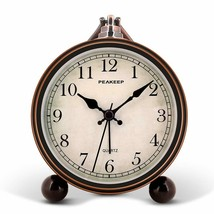 "Nice Analog Alarm Bedside Clock Antique Tone 4"" Vintage Face Shabby Chic  - $39.95"