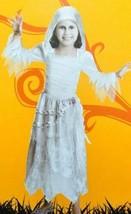 Girls Silver Mummy White & Silver Hooded Dress Halloween Costume-size 7/8 - $14.85