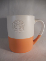 Starbucks 2014 Siren Coffee Mug Orange and White Etched Mermaid Hand Dipped - $9.89