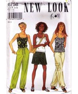 Misses' PANTS, SHORTS & TOP New Look Pattern 6758-nl Sizes 6-16 - UNCUT - $12.00