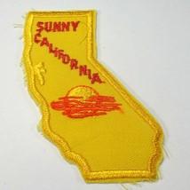 "Sunny California CA Yellow Orange Cutout Shape 3.75"" Iron On Tourist Patch - $4.90"