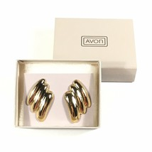 Vintage 1987 Avon Sleek Waves Gold-Tone Pierced Earrings NEW/BOX - $5.86