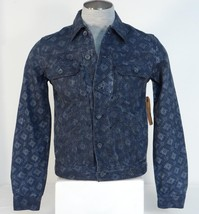Guess Geo Print Button Front Blue Gray Cotton Denim Jacket Mens NWT - $101.99