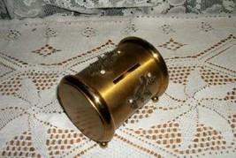 HOLLYWOOD REGENCY CHIC RHINESTONE GOLD TONE NY FILIGREE VANITY BANK SHAB... - $28.49