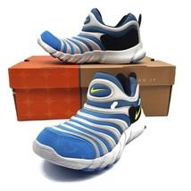 Nike Kids Unisex Dynamo Sneakers Blue White Stripe Round Toe Slip Ons 4 New - $54.44