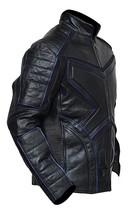 Mens X Logo Logan Black and Blue Padded Wolverine Costume Biker Leather Jacket image 2