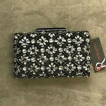 Sondra Roberts Jeweled Black Satin Clutch - $99.00
