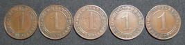 GERMANY 1 RENTENPFENNIG 5 COIN SET 1923 A - J  WEIMAR TIME VERY RARE LOT XF - $46.46