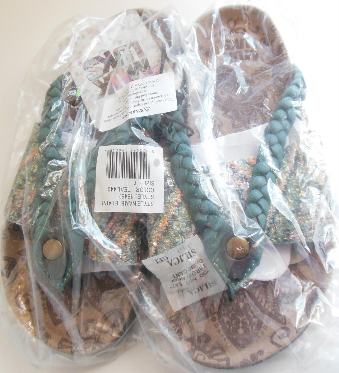 c89868391e3 Dscn3032. Dscn3032. Previous. Ladies Muk Luks Sandal 6 Style Elaine Teal  Sequined Braided Thumb Toe Sandals