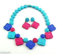 Vintage 1980s Textured Super Bright Three Color Plastic NECKLACE & EARRI... - $45.58