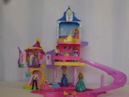 Disney Glitter Glider Castle MagiClip Princess Dolls Set + Rapunzels Cas... - $175.24