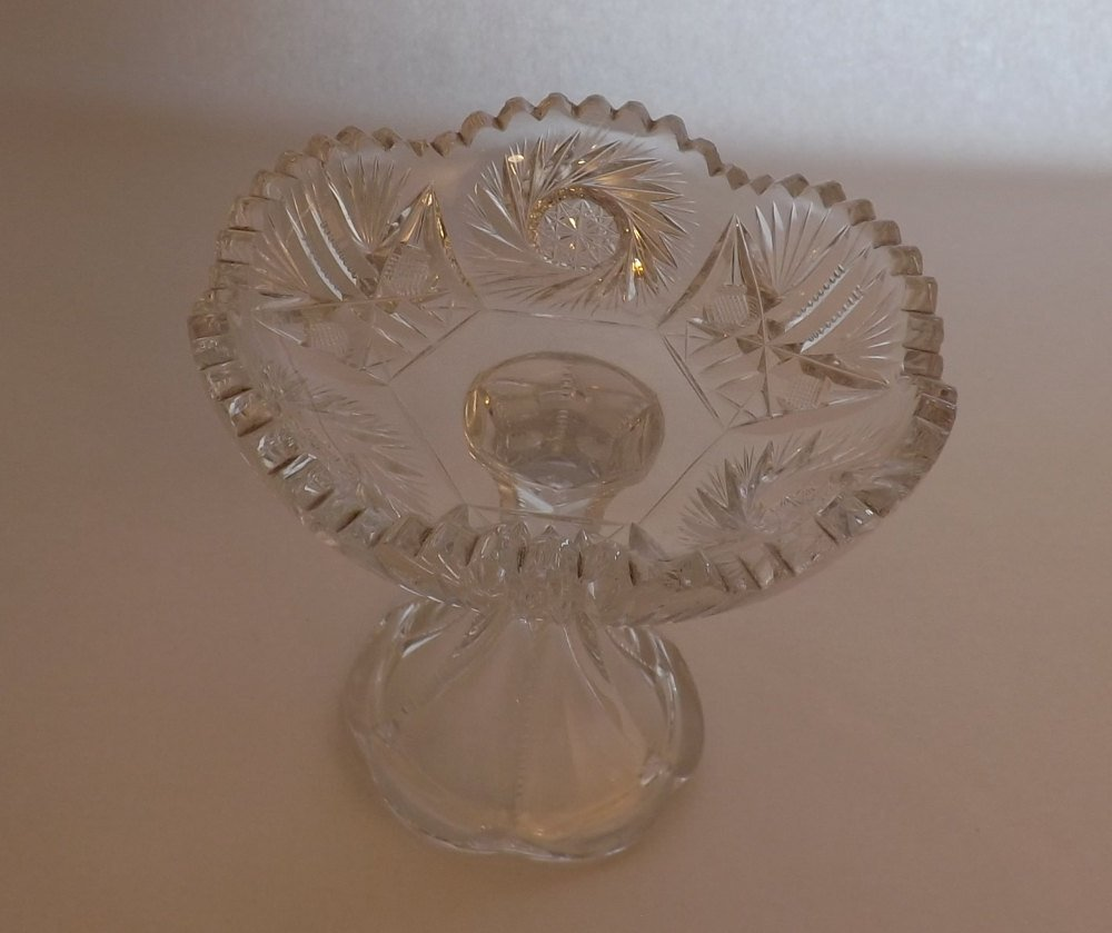 "5"" tall Compote Cut Glass Saw Tooth Rimmed Vintage Pedestal Candy Dish"
