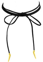 Lolusodesigns Long Thin Black Suede Lace Boho Wrap Bow Tie Gold Spike Choker - $3.84