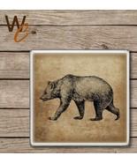 Ceramic Tile Bear Drink Coaster, Wildlife Bar Coaster - $4.95