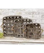 3/Set, Natural Square Tobacco Baskets w/Jute Handles - $59.00
