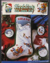 SLEDDING OLD TOWN HILL Counted Cross Stitch Pattern Leaflet True Colors ... - $5.50