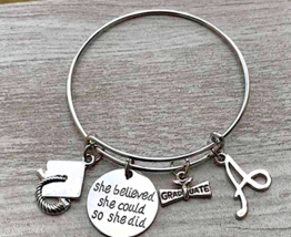 Personalized Graduation Bangle Bracelet w/ Letter Charm, She Believed Sh... - €17,46 EUR