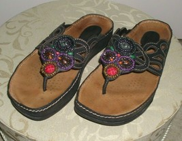 Earth Kalso Women's Freesia Sandals Shoes Beaded & Jeweled Black Leather Sz 8 B - $47.99