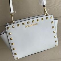 NWT MK Michael Kors Studded Saffiano Selma Messenger Bag Purse $248 White - $178.19