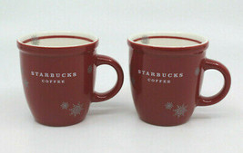 Starbucks Coffee 2009 Espresso Demitasse Mug Cup Red Snowflakes Set of 2... - $41.09