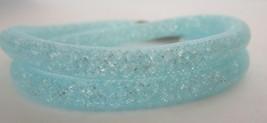 Genuine Swarovski Stardust Aqua Blue Crystal Double Bracelet or Choker N... - $44.50