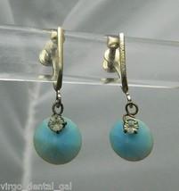 VTG Silver Tone Blue Celluloid Disk Rhinestone Dangle Screwback Earrings - $14.85