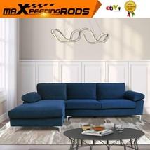 Corner Sectional Sofa Left Hand w/Lounger Chaise Velvet Wide Armrest L-s... - $765.66