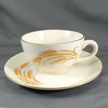 Homer Laughlin Golden Wheat Tea Cup and Saucer Set 50's Cream with 22K G... - $10.45