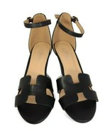 Forever Women's Black Faux Leather H Cut Out Design Detail Wedges Size 7... - $21.77